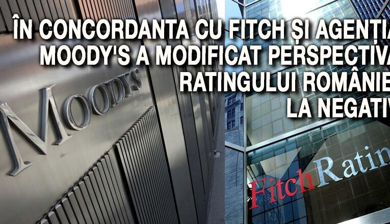 În concordanță cu Fitch și agenția Moody's a modificat perspectiva ratingului României la negativ
